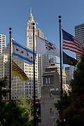 Riverwalk and skyline in Chicago, IL.