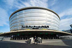 Glasgow, Scotland, UK. 21st October 2021. Final preparations underway at the site of the UN Climate Change Conference COP26 to be held in Glasgow from Oct 31st. Pic; Exterior of The Ovo Hydro a venue for COP26.  Iain Masterton/Alamy Live News.