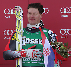 21.01.2011, Hahnenkamm, Kitzbuehel, AUT, FIS World Cup Ski Alpin, Men, Super G, im Bild Ivica Kostelic (CRO) during the flower ceremony for the 2011 Hahnenkamm Super Giant Slalom race (Super G)part of  Audi FIS World Cup races in Kitzbuhel Austria. The race was won by Ivica Kostelic (CRO). EXPA Pictures © 2011, PhotoCredit: EXPA/ M. Gunn