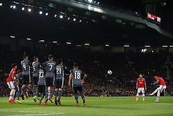 31st October 2017 - UEFA Champions League - Group A - Manchester United v SL Benfica - Anthony Martial of Man Utd takes a free-kick inside Old Trafford - Photo: Simon Stacpoole / Offside.