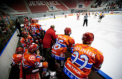 Players of Jesenice during ice hockey match between HK Acroni Jesenice and  Moser Medical Graz 99ers in 24th Round of EBEL league, on December 3, 2010 in Arena Podmezakla, Jesenice, Slovenia. Graz defeated Jesenice 3-0.  (Photo By Vid Ponikvar / Sportida.com)
