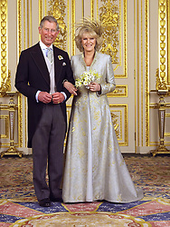 Clarence House official photo of the Prince of Wales and his new bride Camilla, Duchess of Cornwall in the White Drawing Room at Windsor Castle. Please Credit Hugo Burnand.