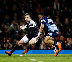 George North of Ospreys under pressure from Willis Halaholo of Cardiff Blues<br /> <br /> Photographer Simon King/Replay Images<br /> <br /> Guinness PRO14 Round 21 - Cardiff Blues v Ospreys - Saturday 27th April 2019 - Principality Stadium - Cardiff<br /> <br /> World Copyright © Replay Images . All rights reserved. info@replayimages.co.uk - http://replayimages.co.uk