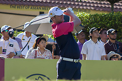 February 3, 2018 - Shah Alam, Kuala Lumpur, Malaysia - Marc Warren is seen taking a shot from hole no 1 on day 3 at the Maybank Championship 2018...The Maybank Championship 2018 golf event is being hosted on 1st to 4th February at Saujana Golf & Country Club. (Credit Image: © Faris Hadziq/SOPA via ZUMA Wire)