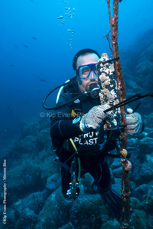 Dr. Alex Hearn Replaces a Shark Receiver, Wolf Island, Galapagos National Park.