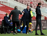 Stoke City manager Michael O'Neill is greeted by Middlesbrough manager Neil Warnock <br /> <br /> Photographer Alex Dodd/CameraSport<br /> <br /> The EFL Sky Bet Championship - Middlesbrough v Stoke City - Saturday 13th March 2021 - Riverside Stadium - Middlesbrough<br /> <br /> World Copyright © 2021 CameraSport. All rights reserved. 43 Linden Ave. Countesthorpe. Leicester. England. LE8 5PG - Tel: +44 (0) 116 277 4147 - admin@camerasport.com - www.camerasport.com