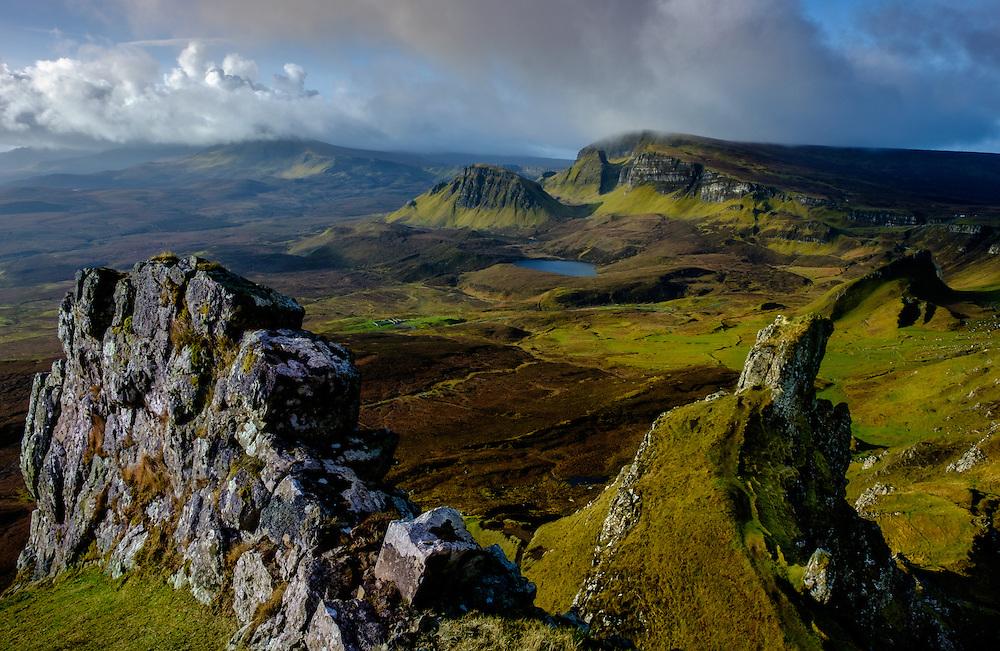 SCOTLAND - CIRCA APRIL 2016:The Quiraing a popular tourist attraction near Staffin in Skye an Island in Scotland