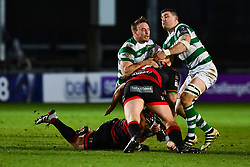 Newcastle Falcons' Ben Sowrey is tackled by Dragons' Ben Roach<br /> <br /> Photographer Craig Thomas/Replay Images<br /> <br /> EPCR Champions Cup Round 3 - Newport Gwent Dragons v Newcastle Falcons - Saturday 15th December 2017 - Rodney Parade - Newport<br /> <br /> World Copyright © 2017 Replay Images. All rights reserved. info@replayimages.co.uk - www.replayimages.co.uk