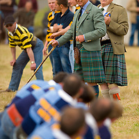 HRH The Prince Charles Duke of Rothesay empires the tug of war competition and HRH Duchess of Rothesay watch the Mey Games at Mey (Caithness) Scotland Aug 4 2007