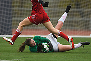 Colchester goalie Olivia Moore makes a diving save on a shot by CVU's Josie Pecor (22) during the division I girls soccer championship game between the Colchester Lakers and the Champlain Valley Union Redhawks at Buck Hard Field on Saturday morning November 3, 2018 in Burlington. (BRIAN JENKINS/for the FRESS PRESS)