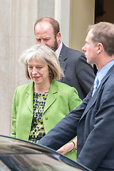 © Licensed to London News Pictures. 08/07/2014. Westminster, UK Theresa May, Home Secretary,  leaving Downing Street today 8th July 2014 after the weekly cabinet meeting. Photo credit : Stephen Simpson/LNP