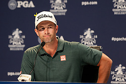 August 11, 2018 - St. Louis, Missouri, United States - Adam Scott speaks to the media after the third round of the 100th PGA Championship at Bellerive Country Club. (Credit Image: © Debby Wong via ZUMA Wire)