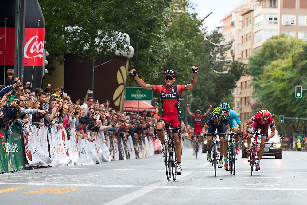 MURCIA, ESPANA - 13 DE FEBRERO: Philippe Gilbert, del BMC Racing Team, celebra la victoria en la Vuelta a Murcia el sabado 13 de febrero de 2016 en Murcia, Espana. (Photo by Aitor Bouzo)