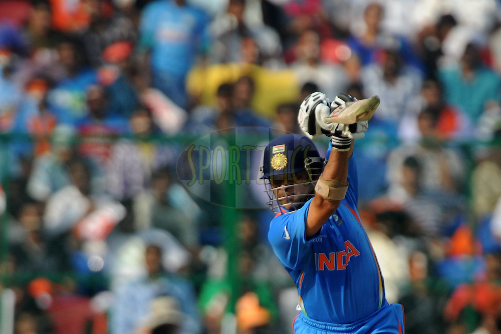 Sachin Tendulkar of India bats during the ICC Cricket World Cup match between India and England held at the M Chinnaswamy Stadium in Bengaluru, Bangalore, Karnataka, India on the 27th February 2011..Photo by Pal Pillai/BCCI/SPORTZPICS
