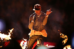 Rapper Travis Scott takes the stage during Maroon 5's Super Bowl LIII Halftime Show at Mercedes-Benz Stadium in Atlanta, GA, USA on Sunday, February 3, 2019. Photo by Curtis Compton/Atlanta Journal-Constitution/TNS/ABACAPRESS.COM