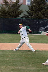 12 April 2014:  Sam Santa Maria rifles a throw to first base during an NCAA division 3 College Conference of Illinois and Wisconsin (CCIW) baseball game between the Augustana Vikings and the Illinois Wesleyan Titans at Jack Horenberger Stadium, Bloomington IL