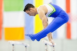 Alen Dimic of Slovenia competes in the Parallel Bars during Qualifiying day  of Artistic Gymnastics World Challenge Cup Ljubljana, on April 18, 2014 in Hala Tivoli, Ljubljana, Slovenia. Photo by Vid Ponikvar / Sportida