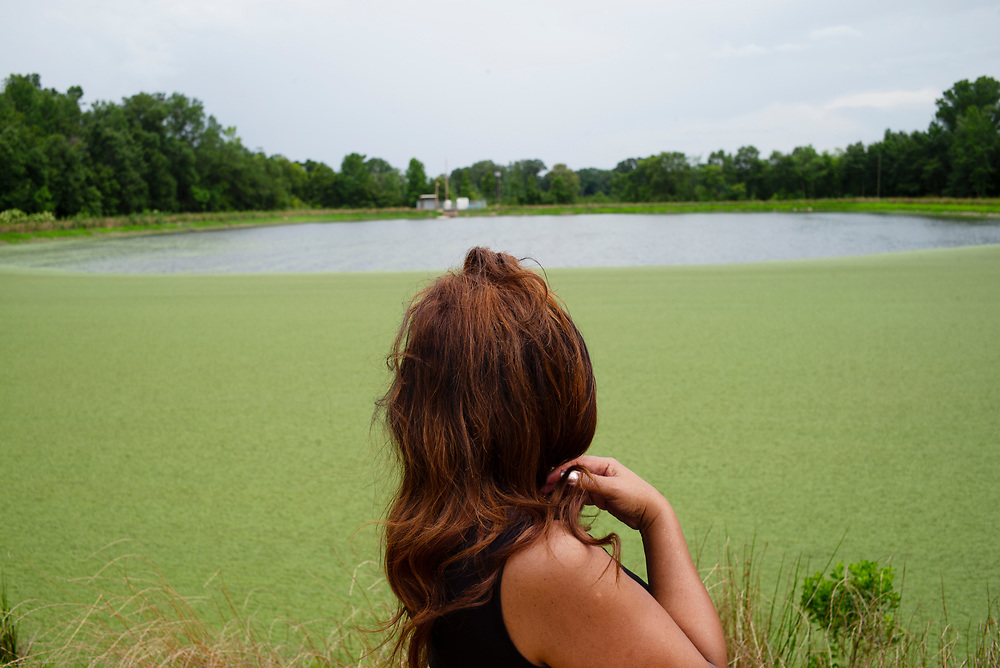 WHITE HALL, AL – MAY 28, 2015: Catherine Coleman Flowers visits a lagoon at the Town of Haneyville Wastewater Facility. For over a decade Flowers has worked as an advocate in the Black Belt, where improper sewage treatment has put the population at risk of diseases long believed to be extinct in the United States.