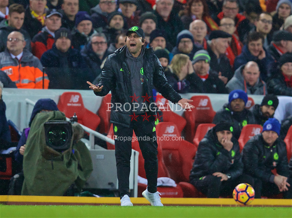 LIVERPOOL, ENGLAND - Tuesday, January 31, 2017: Chelsea's manager Antonio Conte during the FA Premier League match against Liverpool at Anfield. (Pic by David Rawcliffe/Propaganda)