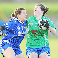 21 November 2010; Katie Haberlin, St Conleth's, Laois, in action against Rita Boland, West Clare Gaels. Tesco All-Ireland Intermediate Ladies Football Club Championship Final, West Clare Gaels, Clare v St Conleth's, Laois, McDonagh Park, Nenagh, Co. Tipperary. Picture credit: Diarmuid Greene / SPORTSFILE *** NO REPRODUCTION FEE ***