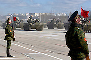 Albina, Russia, 22/04/2008..Russian heavy artillery on display as soldiers practice for the forthcoming 63rd Victory Day celebrations on May 9, marking the end of the Second World War, referred to in Russia as the Great Patriotic War.