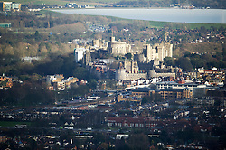 © London News Pictures. 10/02/2014. Windsor UK.  Aerial view showing Windsor Castle in Berkshire, residence of the British Royal family.  Photo credit : Ben Cawthra/LNP
