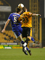 Photo: Steve Bond/Sportsbeat Images.<br />Wolverhampton Wanderers v Leicester City. Coca Cola Championship. 22/12/2007. Gareth McAuley (L) and Freddy Eastwood (R) in an aeriel challange