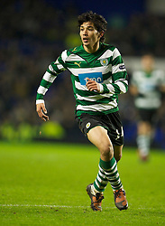 LIVERPOOL, ENGLAND - Tuesday, February 16, 2010: Sporting Clube de Portugal's Matias Fernandez in action against Everton during the UEFA Europa League Round of 32 1st Leg match at Goodison Park. (Photo by: David Rawcliffe/Propaganda)