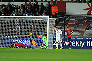 Swansea city's Wayne Routledge (15) celebrates after he scores his sides 3rd  goal (his 2nd). Barclays Premier league, Swansea city v West Bromwich Albion at the Liberty Stadium in Swansea on Wednesday 28th November 2012. pic by Andrew Orchard, Andrew Orchard sports photography,