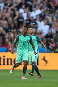 Nani (17) of Portugal celebrates his goal during the match against Hungary valid for F European Championship Group 2016 in Stade des Lumières in Lyon, France, on Wednesday.