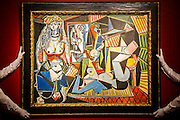 "Les femmes d'Alger (Version ""O""), 1955, by Pablo Picasso (1881-1973), estimate $140million - Preview of almost fifty works from Christie's spring sales in New York of Impressionist, Modern, Post-War And Contemporary Art. The most expensive work is . Other highlights include: Pablo Picasso (1881-1973), Femme à la résille, 1938 (est $55 million); Mark Rothko (1903 -1970), No. 36 (Black Stripe), 1958 (est: $30-50 million); Andy Warhol (1928-1987), Colored Mona Lisa, 1963 (est $40 million); Claude Monet (1840-1926), Le Parlement, soleil couchant, 1902 (est: $35-45 million); Jean Dubuffet, Paris Polka, 1961 (est $25 million); Piet Mondrian (1872-1944), Composition No.III (Composition with Red, Blue, Yellow and Black), 1929 (est: $15-25million); and Amedeo Modigliani (1884-1920), Portrait de Béatrice Hastings, 1916 (est $7-10million) from the Collection of John C. Whitehead. The works will be on view to the public from 11 to 16 April at Christie's King Street, London."