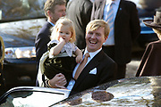 Hare Koninklijke Hoogheid Prinses Alexia, de jongste dochter van Zijne Koninklijke Hoogheid de Prins van Oranje en Hare Koninklijke Hoogheid Prinses Máxima, is zaterdag 19 november 2005 gedoopt in de Dorpskerk in Wassenaar. <br /> <br /> Baptism of Princess Alexia, the youngest daughter of Prince Willem-Alexander and Princess Máxima. Princess Alexia (born June 26, 2005) has been baptized in the church in Wassenaar. The ceremony was attended by The Dutch Royal Family and the parents of Princess Máxima.  <br /> <br /> Op de foto / On the photo:<br /> <br /> <br /> Willem Alexander, Prins van Oranje en Hare Koninklijke Hoogheid Prinses Catharina-Amalia <br /> <br /> Willem Alexander, prince of oranje,  and her royal highness princess Catharina-Amalia