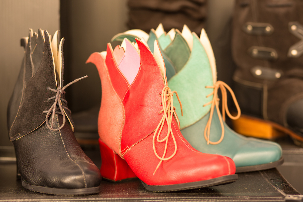 leather boots made by Olivier Rabbath, who teaches bootmaking to the public in his Brooklyn studio.
