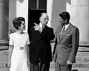 Governor Ronald Reagan of California and his wife Nancy, are greeted  at Aras an Uachtarain by President de Valera.<br />