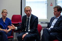 © Licensed to London News Pictures. 01/06/2017. London, UK.  Liberal Democrat Leader Tim Farron and LibDem Brexit Spokesman Nick Clegg visit hospital staff at Kingston Hospital.  Photo credit : Stephen Chung/LNP