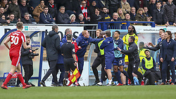March 9, 2019 - High Wycombe, Buckinghamshire, United Kingdom - Start of a mass touchline brawl during the Sky Bet League 1 match between Wycombe Wanderers and Sunderland at Adams Park, High Wycombe, England  on Saturday 9th March 2019. (Credit Image: © Mi News/NurPhoto via ZUMA Press)