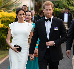 The Duke and Duchess of Sussex attend an official welcome at Consular House in Tonga on the first day of their visit to the country.