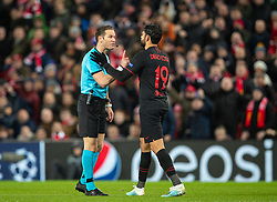 LIVERPOOL, ENGLAND - Wednesday, March 11, 2020: Referee Danny Makkelle speaks with Club Atlético de Madrid's Diego Costa during the UEFA Champions League Round of 16 2nd Leg match between Liverpool FC and Club Atlético de Madrid at Anfield. (Pic by David Rawcliffe/Propaganda)