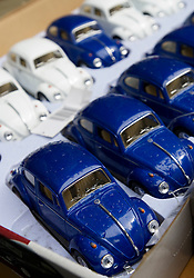 Detail of toy Beetle cars for sale in a market in Berlin Germany