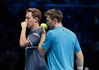 Tennis - 2017 Nitto ATP Finals at The O2 - Day Eight<br /> <br /> Mens Doubles: Final : Henri Kontinen (Finland) & John Peers (Australia) Vs Lukasz Kubot (Poland) & Marcelo Melo (Brazil) <br /> <br /> Henri Kontinen (Finland) and John Peers (Australia) discuss tactice hiding their conversation at the O2 Arena<br /> <br /> COLORSPORT/DANIEL BEARHAM
