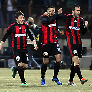 Gaziantepspor's Ismael SOSA (C) celebrate his goal with team mate during their Turkish superleague soccer match Gaziantepspor between Galatasaray at the Kamil Ocak stadium in Gaziantep Turkey on Saturday 12 February 2011. Photo by TURKPIX