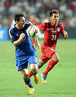 Lionel Messi of Argentina, left, challenges Kwok Kin-pong of Hong Kong during a friendly football match in Hong Kong, China, 14 October 2014.<br /> <br /> Lionel Messi needed just six minutes to make his mark in Argentina's 7-0 rout of Hong Kong in a friendly at Hong Kong Stadium on Tuesday (14 October 2014). The Barcelona star Messi scored twice after going on as a substitute for the last 30 minutes of the game to celebrate the 100th anniversary of the Hong Kong Football Association. Napoli striker Gonzalo Higuain and Benfica's Nicolas Gaitan also scored two goals each after Sevilla's Ever Banega had opened scoring in the 19th minute.