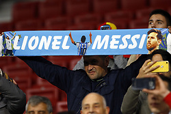 March 22, 2019 - Madrid, Madrid, Spain - Lionel Messi's fan seen holding a banner during the International Friendly match between Argentina and Venezuela at the wanda metropolitano stadium in Madrid. (Credit Image: © Manu Reino/SOPA Images via ZUMA Wire)