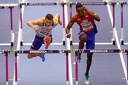 Great Britain's Andrew Pozzi (left) winning Heat 2 in the Semi Final of the Men's 60 Metres Hurdles during day four of the 2018 IAAF Indoor World Championships at The Arena Birmingham.
