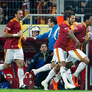 Galatasaray's Colin Kazim RICHARDS (R) celebrate his goal with team mate during their Turkish superleague soccer derby match Galatasaray between Fenerbahce at the Turk Telekom Arena in Istanbul Turkey on Friday, 18 March 2011. Photo by TURKPIX