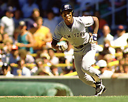 CHICAGO - 1988:  Rickey Henderson of the New York Yankees runs the bases during an MLB game versus the Chicago White Sox during the 1988 season at Comiskey Park in Chicago, Illinois. (Photo by Ron Vesely)  Subject:   Rickey Henderson