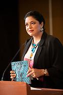 12 agosto 2021, CDMX, México. Alejandra Frausto, secretaria de Cultura, en la presentación del libro Las lenguas toman la tribuna en el edificio G de la Cámara de Diputados.