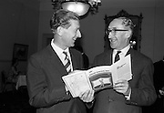 29/7/1964<br /> 7/29/1964<br /> 29 July 1964<br /> <br /> Mr. F.P Guilbride Sec. of Irish Dunlop chatting with Mr C.C. Callaghan Captian at Portmarnock Golf Club while attending the Press Conference held at the Shelbourne Hotel