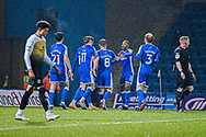 GOAL 2-0 Gillingham FC defender Connor Ogilvie (3) , Gillingham FC defender Ryan Jackson (2) Gillingham FC midfielder Kyle Dempsey (8), Gillingham FC midfielder Thomas O'Connor (21) celebrate Olly Lee (11) during the EFL Sky Bet League 1 match between Gillingham and Crewe Alexandra at the MEMS Priestfield Stadium, Gillingham, England on 26 January 2021.