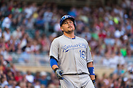 Billy Butler #16 of the Kansas City Royals reacts during an at-bat against the Minnesota Twins on June 27, 2013 at Target Field in Minneapolis, Minnesota.  The Twins defeated the Royals 3 to 1.  Photo by Ben Krause